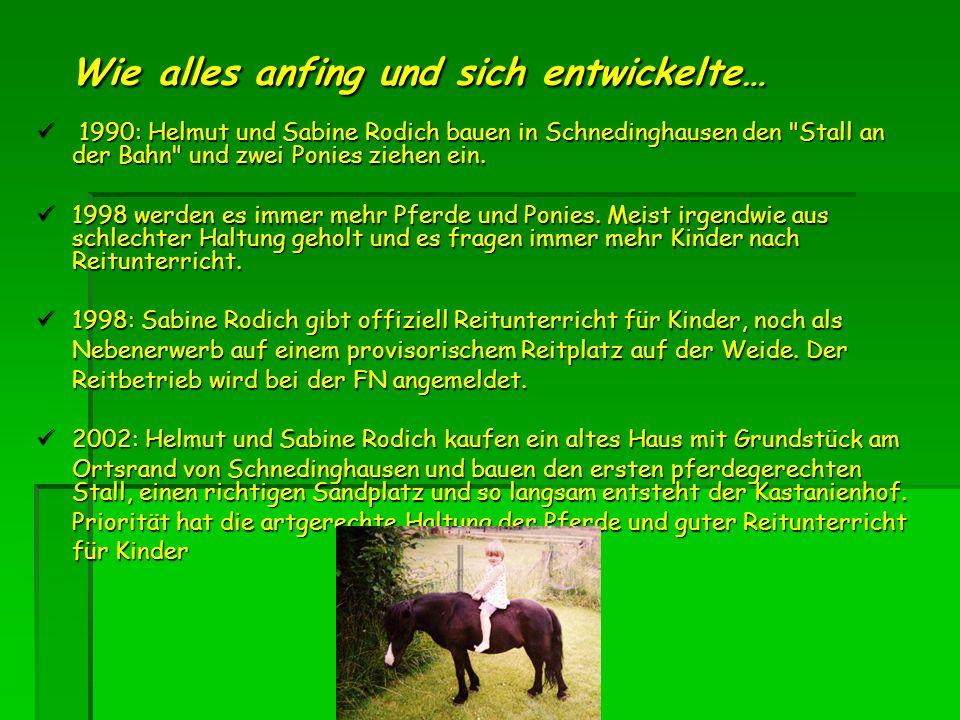 Wie alles anfing und sich entwickelte… 1990: Helmut und Sabine Rodich bauen in Schnedinghausen den Stall an der Bahn und zwei Ponies ziehen ein.