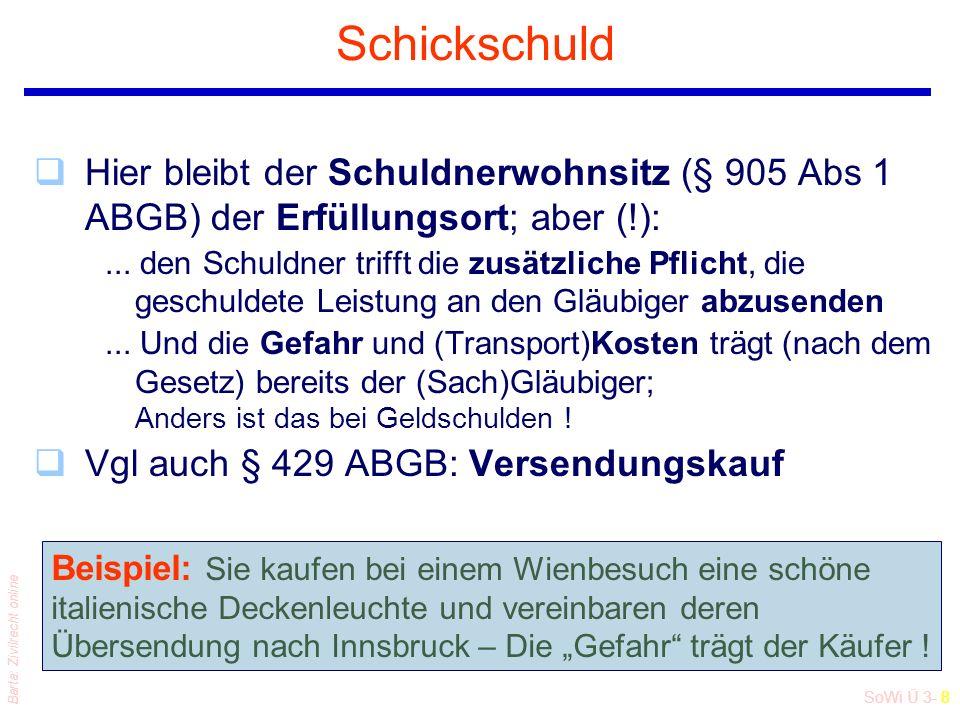 SoWi Ü 3- 8 Barta: Zivilrecht online Schickschuld qHier bleibt der Schuldnerwohnsitz (§ 905 Abs 1 ABGB) der Erfüllungsort; aber (!):... den Schuldner