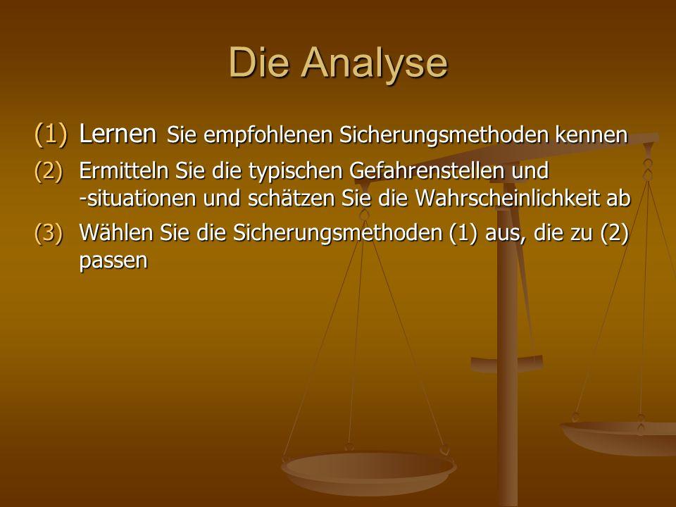 Die Analyse (1)Lernen Sie empfohlenen Sicherungsmethoden kennen (2)Ermitteln Sie die typischen Gefahrenstellen und -situationen und schätzen Sie die W