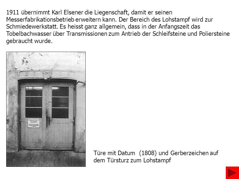 1911 übernimmt Karl Elsener die Liegenschaft, damit er seinen Messerfabrikationsbetrieb erweitern kann. Der Bereich des Lohstampf wird zur Schmiedewer