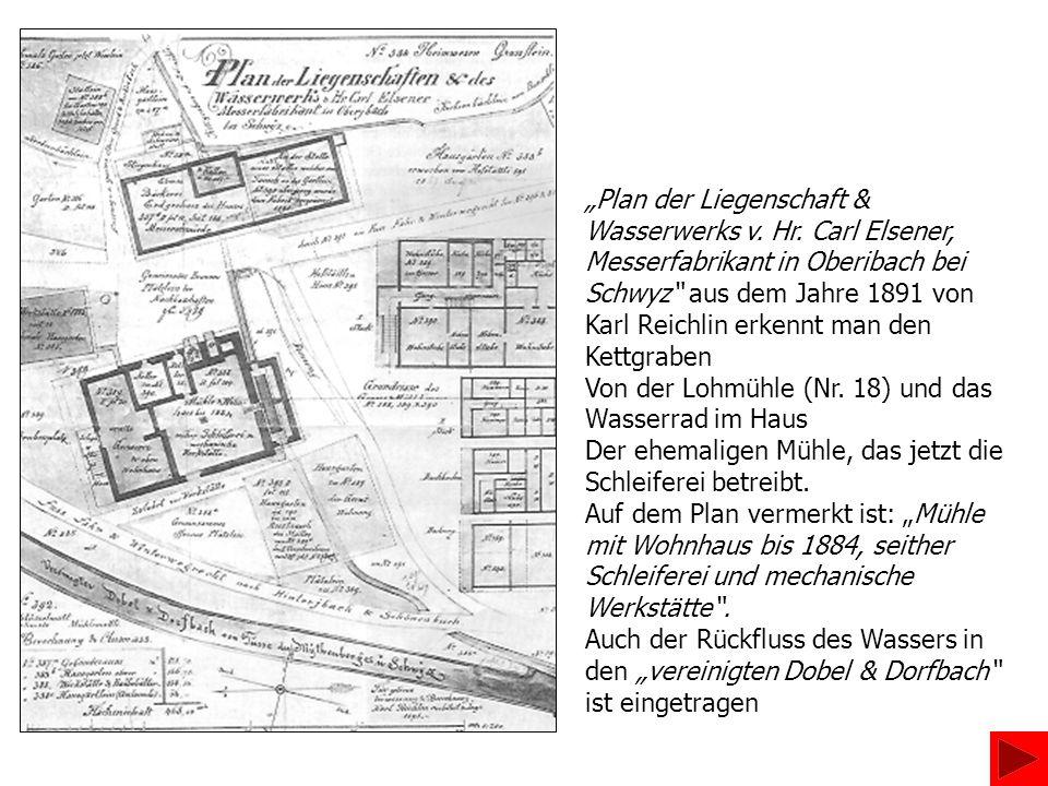 Plan der Liegenschaft & Wasserwerks v. Hr. Carl Elsener, Messerfabrikant in Oberibach bei Schwyz aus dem Jahre 1891 von Karl Reichlin erkennt man den