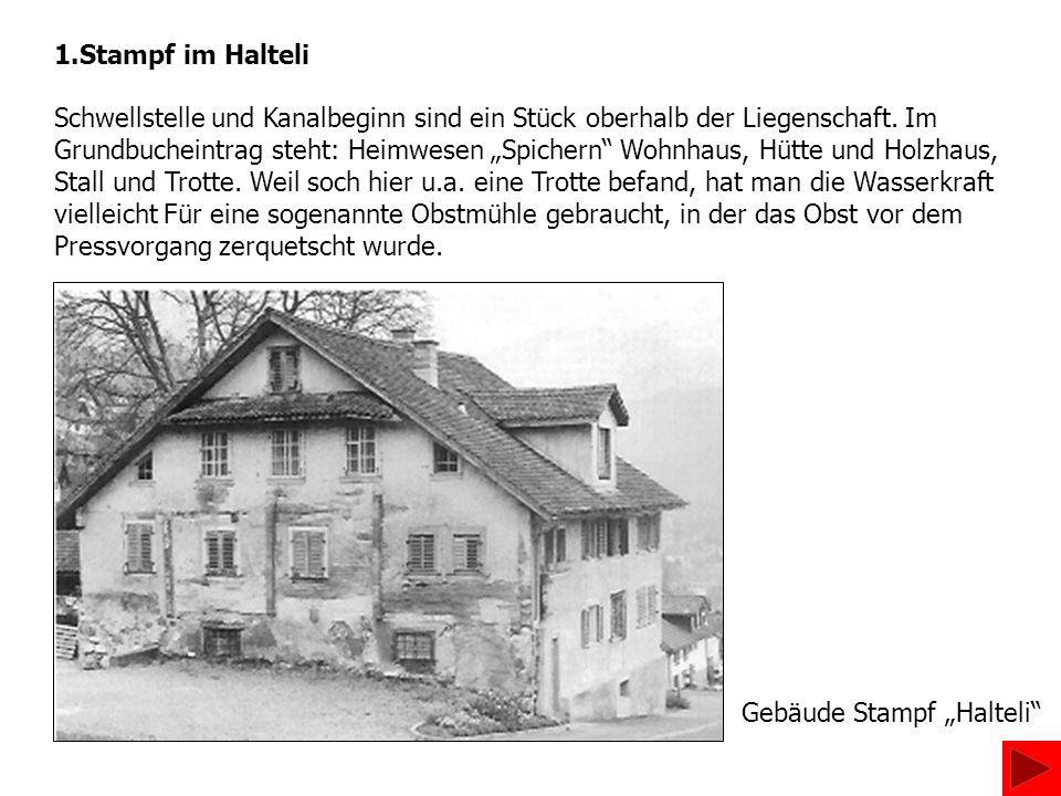 Gebäude Stampf Stöckli vor dem Umbau mit dem Rad am alten Standort Nachdem der Nachbar, Schreinermeister Hans Stöckli, die Liegenschaft 1974 gekauft hatte, renovierte er das Gebäude 1983/84 stilvoll und baute es zum Alterssitz aus.