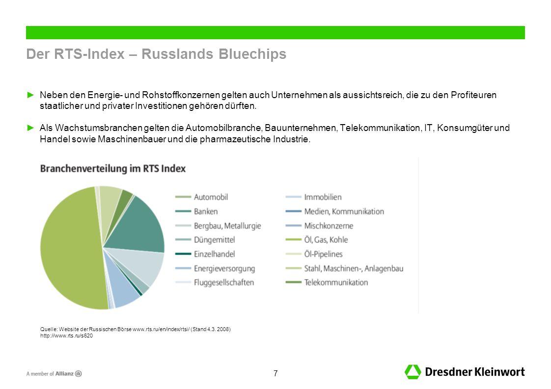 7 Der RTS-Index – Russlands Bluechips Neben den Energie- und Rohstoffkonzernen gelten auch Unternehmen als aussichtsreich, die zu den Profiteuren staatlicher und privater Investitionen gehören dürften.