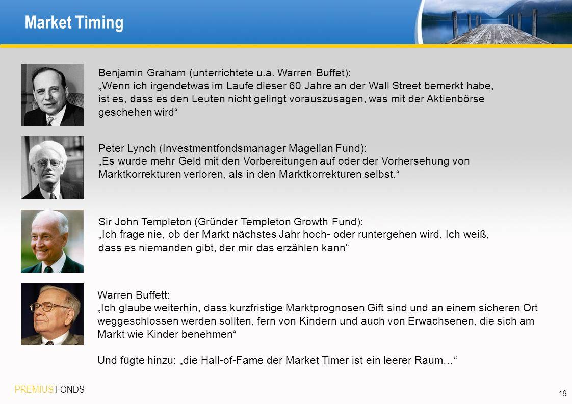 PREMIUS FONDS Market Timing 19 Benjamin Graham (unterrichtete u.a. Warren Buffet): Wenn ich irgendetwas im Laufe dieser 60 Jahre an der Wall Street be