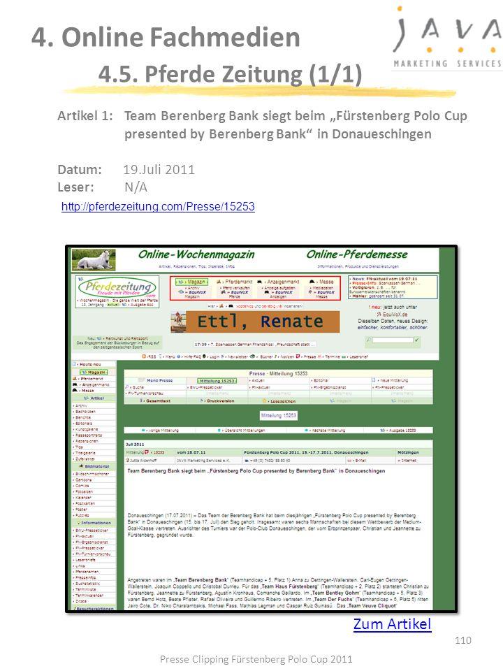 110 4. Online Fachmedien 4.5. Pferde Zeitung (1/1) Artikel 1: Team Berenberg Bank siegt beim Fürstenberg Polo Cup presented by Berenberg Bank in Donau