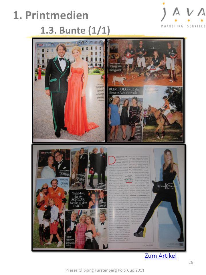 1. Printmedien 1.3. Bunte (1/1) 26 Presse Clipping Fürstenberg Polo Cup 2011 Zum Artikel