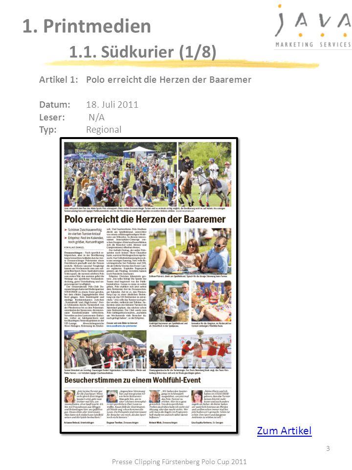 1. Printmedien 1.1. Südkurier (1/8) 3 Artikel 1: Polo erreicht die Herzen der Baaremer Datum:18. Juli 2011 Leser: N/A Typ:Regional Zum Artikel Presse