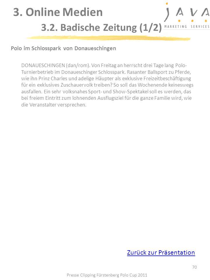 70 Polo im Schlosspark von Donaueschingen DONAUESCHINGEN (dan/rom). Von Freitag an herrscht drei Tage lang Polo- Turnierbetrieb im Donaueschinger Schl