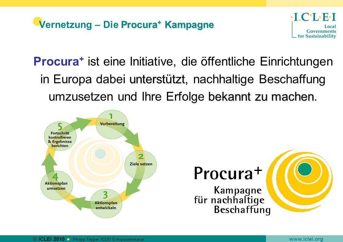 © ICLEI 2010 www.iclei.org Philipp Tepper, ICLEI Europasekretariat Procura + Kampagne Vernetzung – Die Procura + Kampagne unterstützt bekannt zu mache