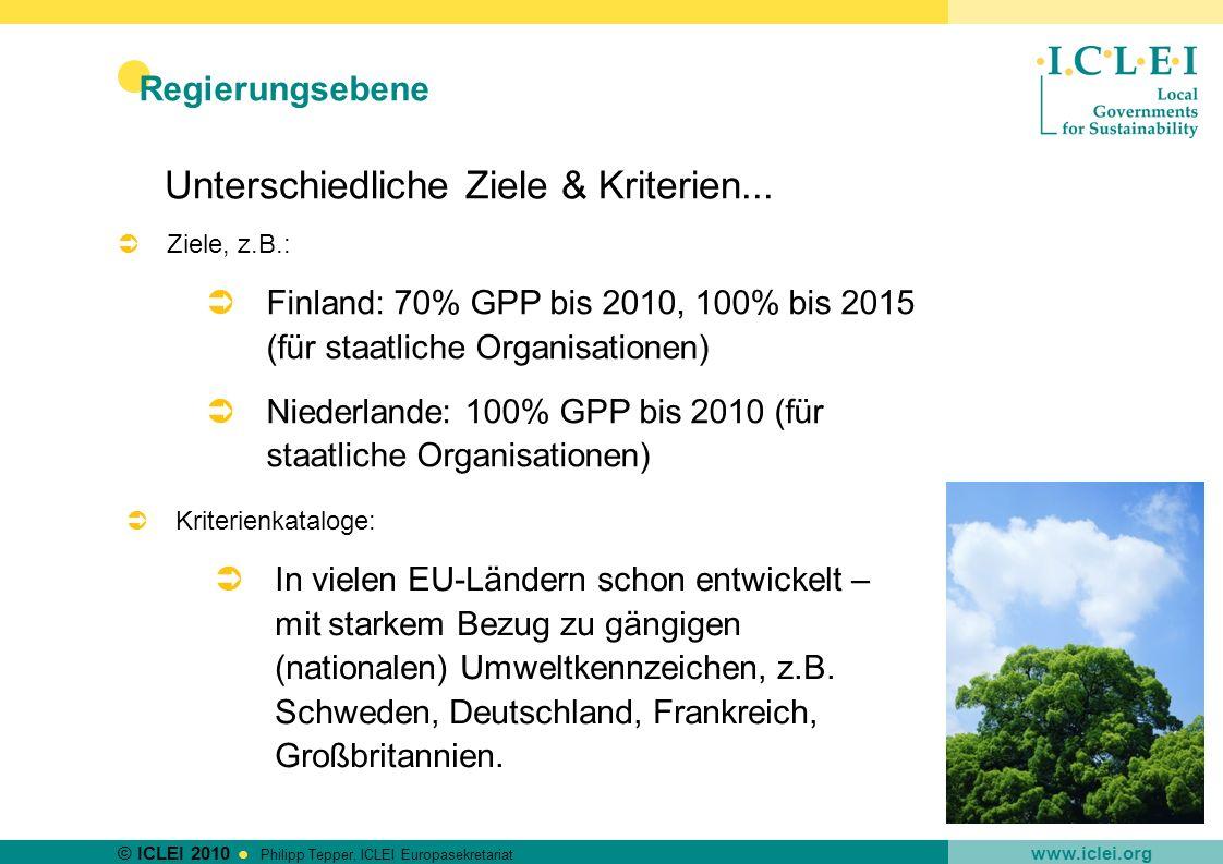 © ICLEI 2010 www.iclei.org Philipp Tepper, ICLEI Europasekretariat Regierungsebene Unterschiedliche Ziele & Kriterien... Ziele, z.B.: Finland: 70% GPP