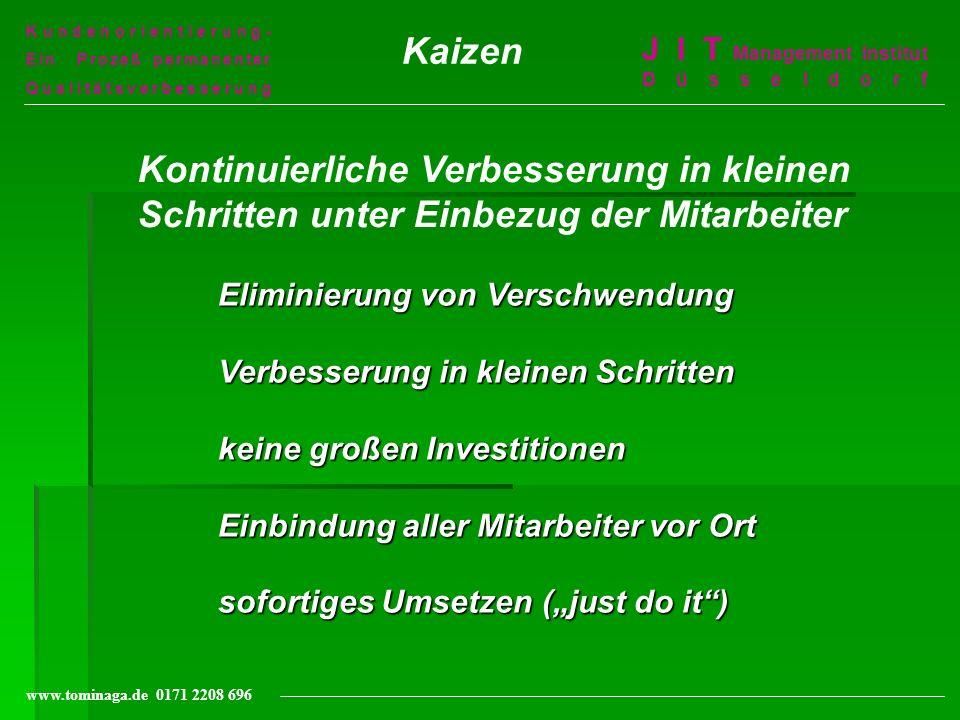 Kundenorientierung- Ein Prozeß permanenter Qualitätsverbesserung J I T Management Institut Düsseldorf www.tominaga.de 0171 2208 696 Kaizen Eliminierun