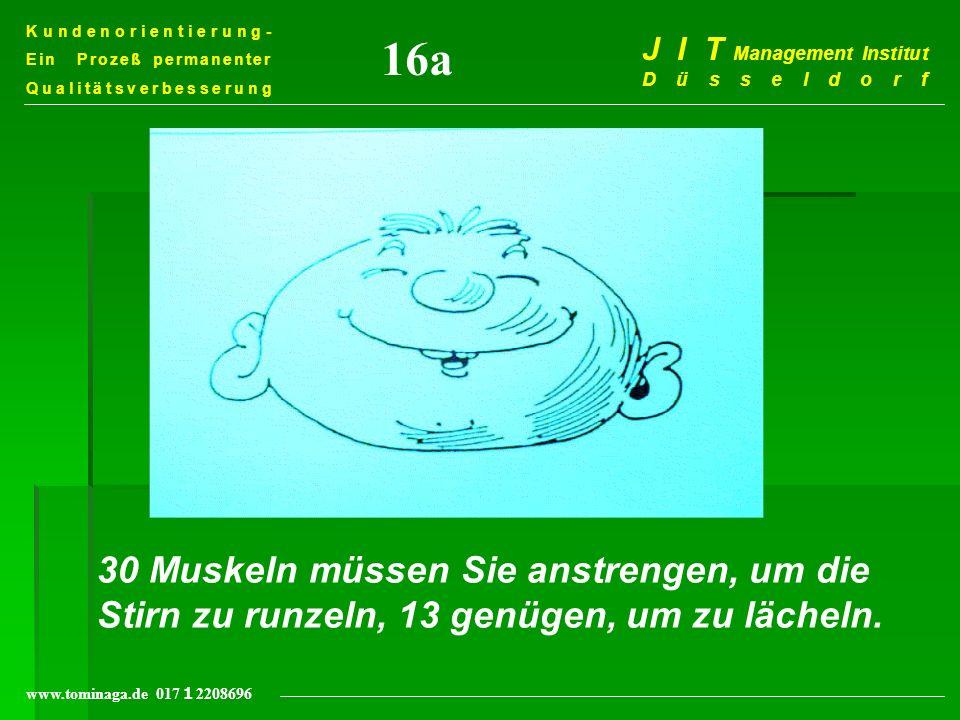 Kundenorientierung- Ein Prozeß permanenter Qualitätsverbesserung J I T Management Institut Düsseldorf www.tominaga.de 017 2208696 30 Muskeln müssen Si