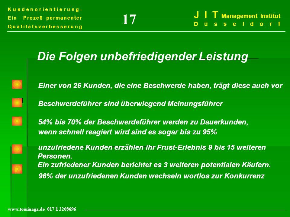 Kundenorientierung- Ein Prozeß permanenter Qualitätsverbesserung J I T Management Institut Düsseldorf www.tominaga.de 017 2208696 = Einer von 26 Kunde