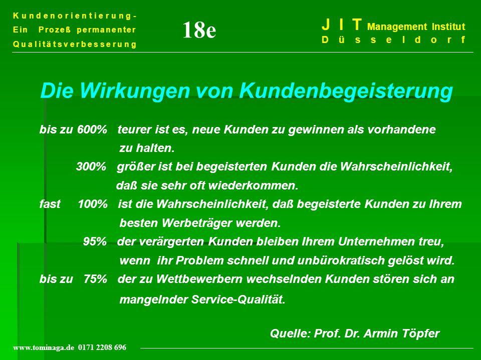 Kundenorientierung- Ein Prozeß permanenter Qualitätsverbesserung J I T Management Institut Düsseldorf www.tominaga.de 0171 2208 696 Die Wirkungen von
