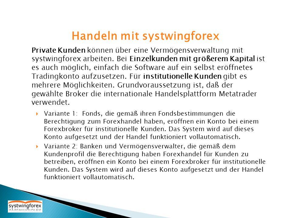 Variante 1: Fonds, die gemäß ihren Fondsbestimmungen die Berechtigung zum Forexhandel haben, eröffnen ein Konto bei einem Forexbroker für institutione