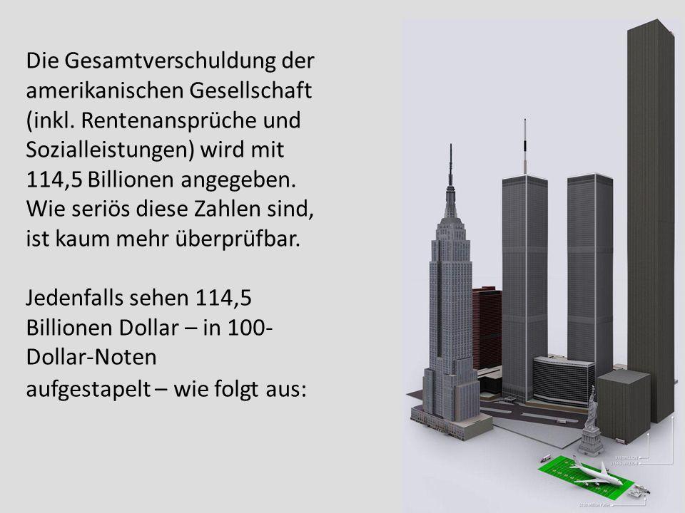 Die Gesamtverschuldung der amerikanischen Gesellschaft (inkl. Rentenansprüche und Sozialleistungen) wird mit 114,5 Billionen angegeben. Wie seriös die