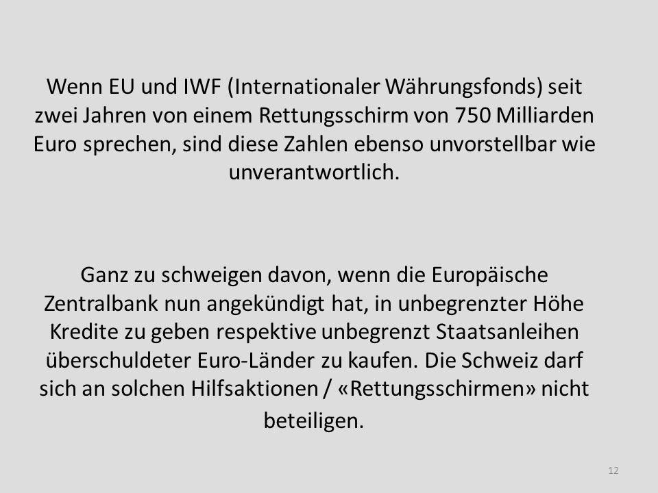 Wenn EU und IWF (Internationaler Währungsfonds) seit zwei Jahren von einem Rettungsschirm von 750 Milliarden Euro sprechen, sind diese Zahlen ebenso u