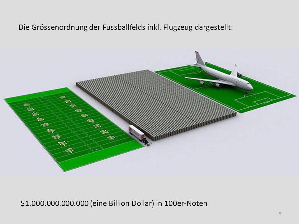 Die Grössenordnung der Fussballfelds inkl. Flugzeug dargestellt: $1.000.000.000.000 (eine Billion Dollar) in 100er-Noten 8