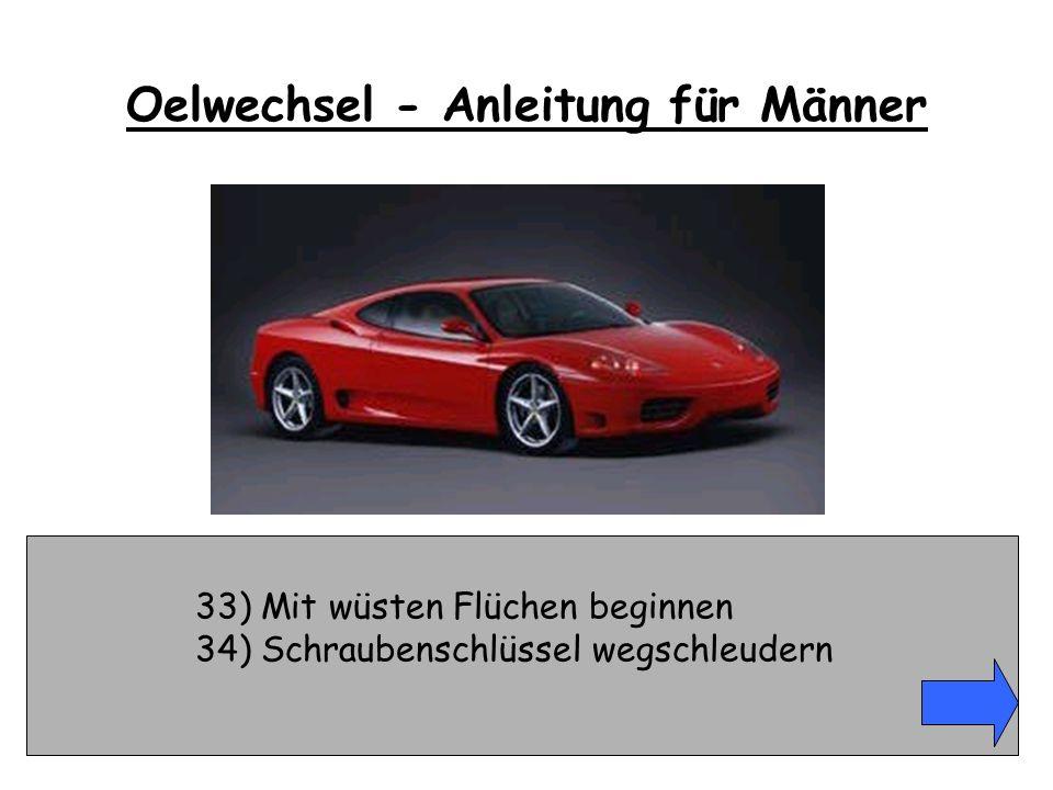 33) Mit wüsten Flüchen beginnen 34) Schraubenschlüssel wegschleudern Oelwechsel - Anleitung für Männer