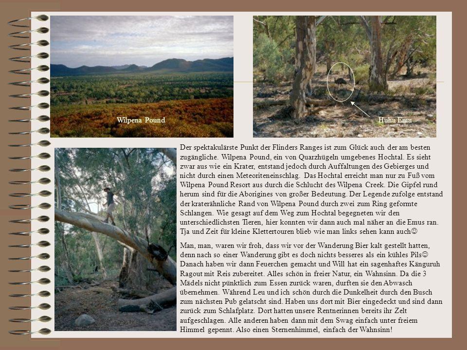 Huhu EmuWilpena Pound Der spektakulärste Punkt der Flinders Ranges ist zum Glück auch der am besten zugängliche.