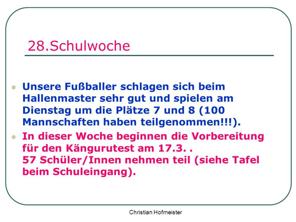 Christian Hofmeister 28.Schulwoche Unsere Fußballer schlagen sich beim Hallenmaster sehr gut und spielen am Dienstag um die Plätze 7 und 8 (100 Mannsc