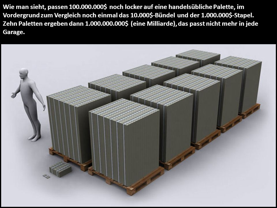 Wie man sieht, passen 100.000.000$ noch locker auf eine handelsübliche Palette, im Vordergrund zum Vergleich noch einmal das 10.000$-Bündel und der 1.000.000$-Stapel.