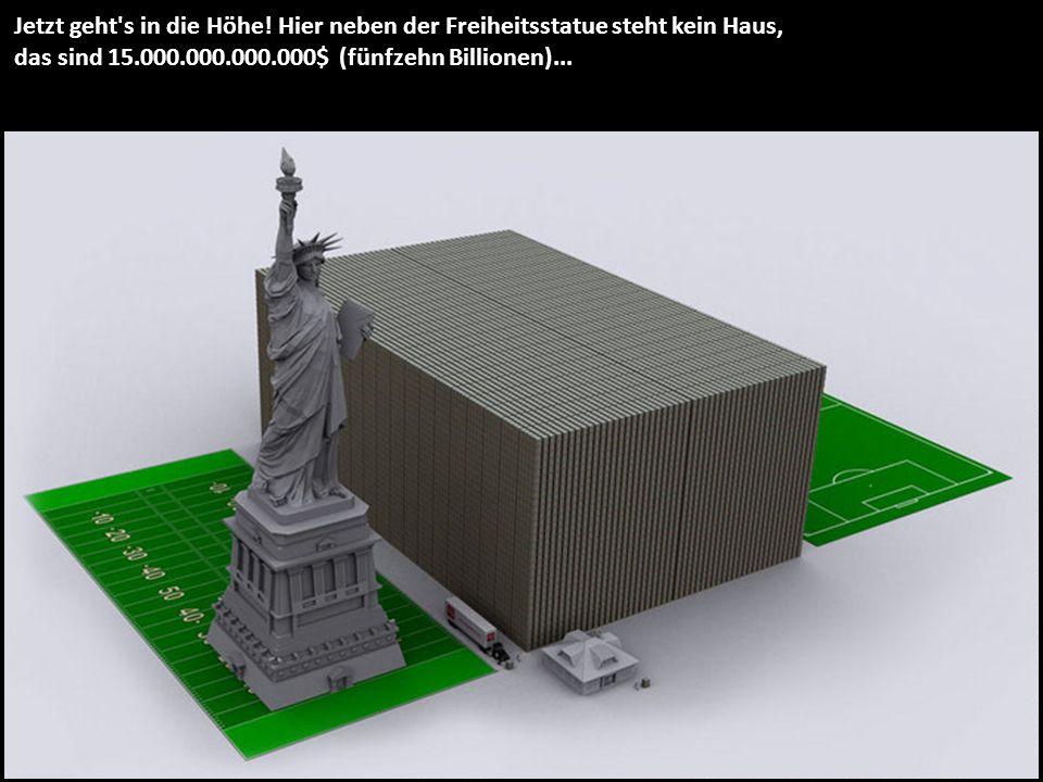Jetzt geht's in die Höhe! Hier neben der Freiheitsstatue steht kein Haus, das sind 15.000.000.000.000$ (fünfzehn Billionen)...