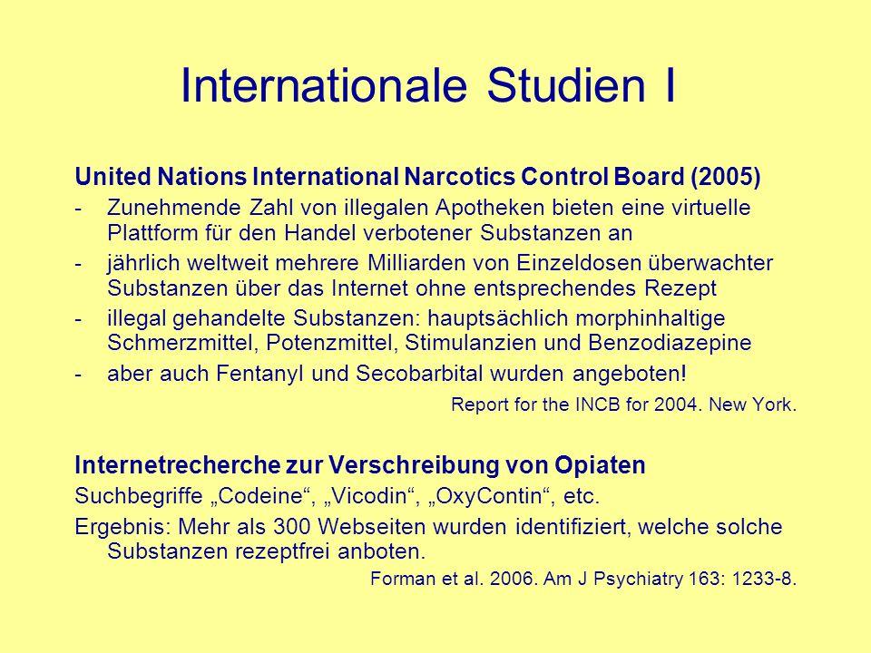Internationale Studien I United Nations International Narcotics Control Board (2005) -Zunehmende Zahl von illegalen Apotheken bieten eine virtuelle Pl