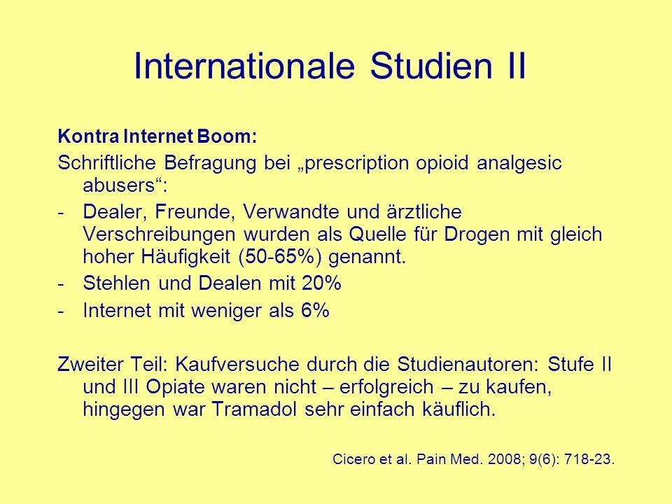 Internationale Studien II Kontra Internet Boom: Schriftliche Befragung bei prescription opioid analgesic abusers: -Dealer, Freunde, Verwandte und ärzt