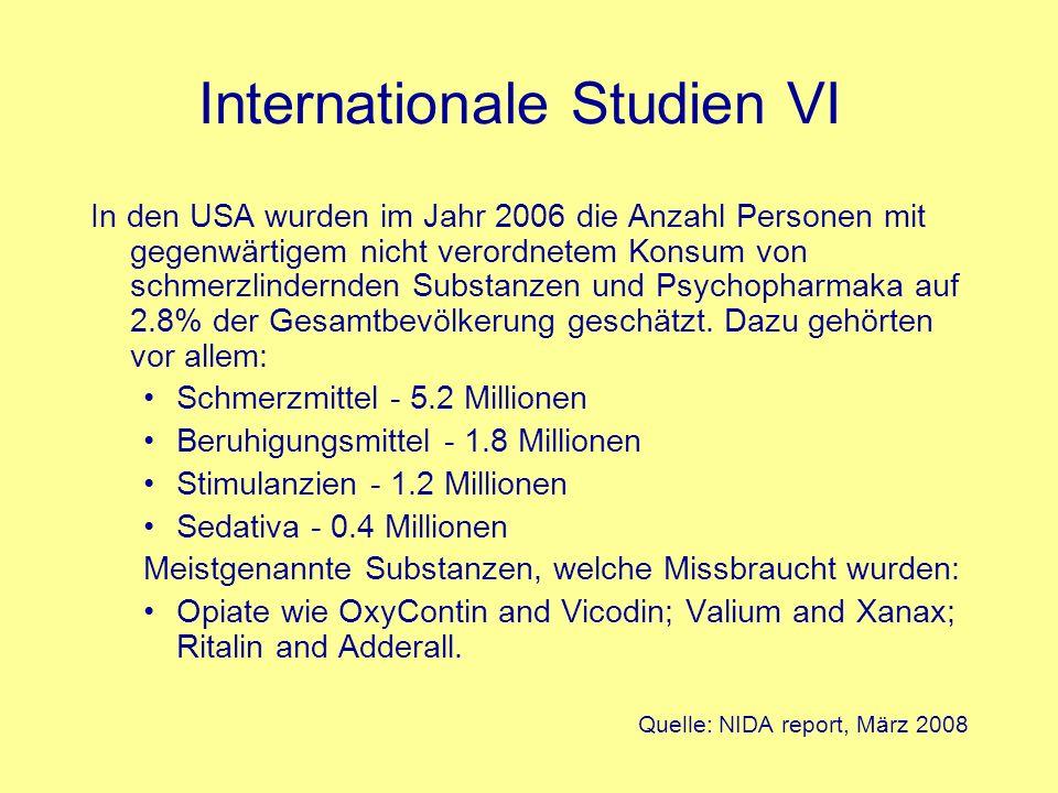 Internationale Studien VI In den USA wurden im Jahr 2006 die Anzahl Personen mit gegenwärtigem nicht verordnetem Konsum von schmerzlindernden Substanz