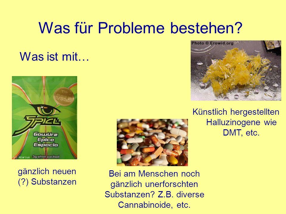 Was für Probleme bestehen? Was ist mit… Künstlich hergestellten Halluzinogene wie DMT, etc. gänzlich neuen (?) Substanzen Bei am Menschen noch gänzlic