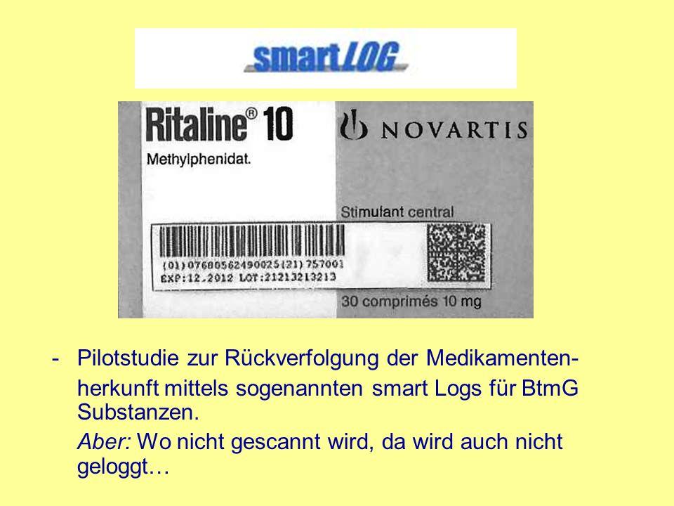 -Pilotstudie zur Rückverfolgung der Medikamenten- herkunft mittels sogenannten smart Logs für BtmG Substanzen. Aber: Wo nicht gescannt wird, da wird a