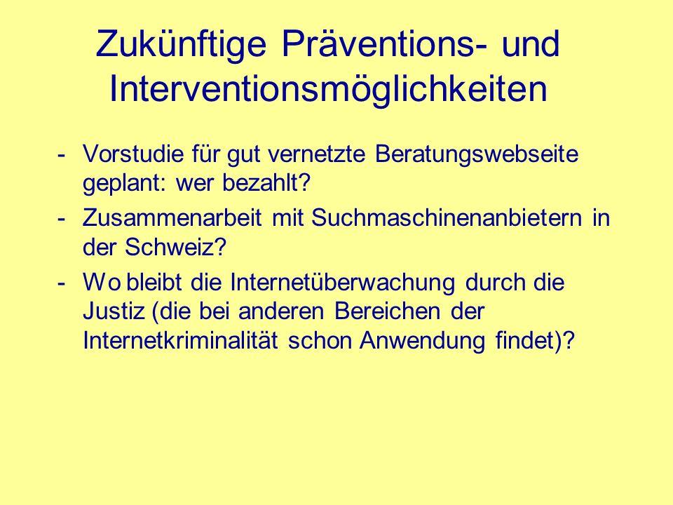 Zukünftige Präventions- und Interventionsmöglichkeiten -Vorstudie für gut vernetzte Beratungswebseite geplant: wer bezahlt? -Zusammenarbeit mit Suchma