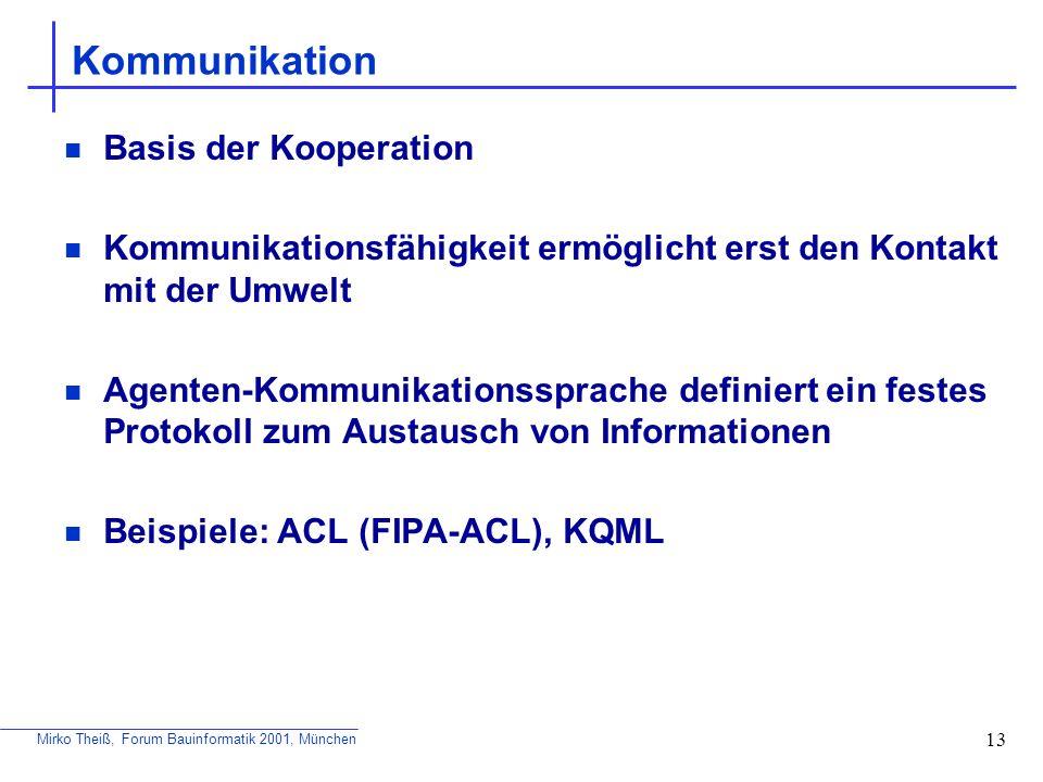 Mirko Theiß, Forum Bauinformatik 2001, München 13 Kommunikation Basis der Kooperation Kommunikationsfähigkeit ermöglicht erst den Kontakt mit der Umwe