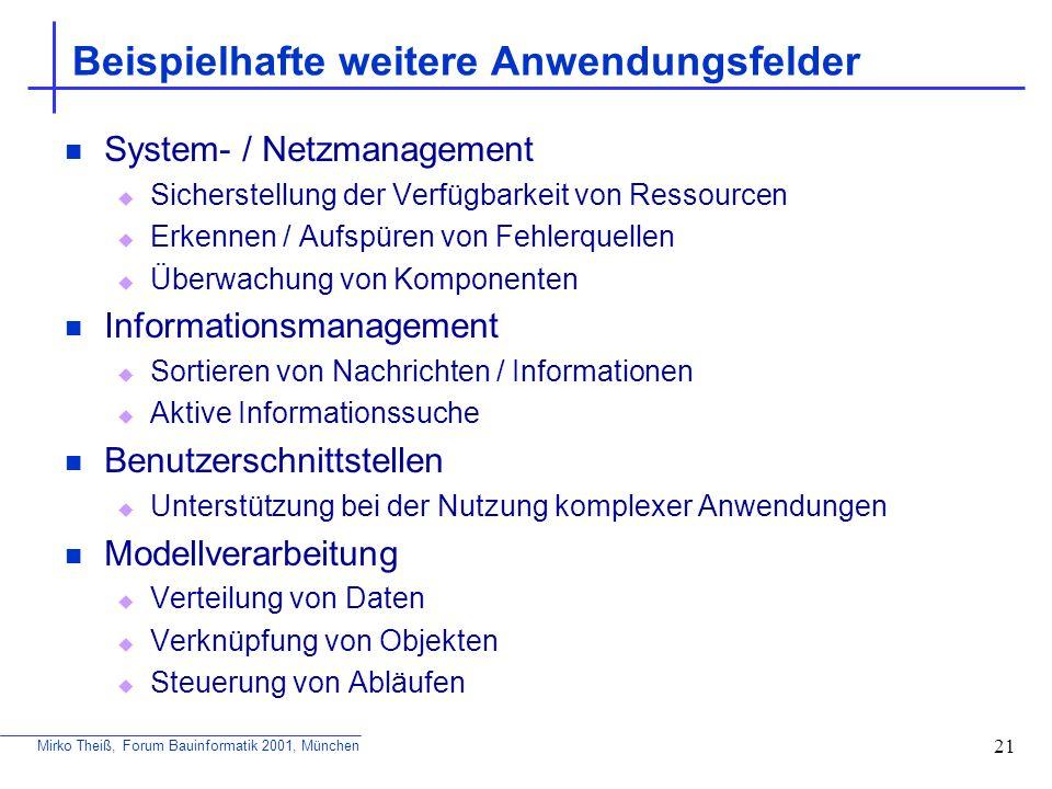 Mirko Theiß, Forum Bauinformatik 2001, München 21 Beispielhafte weitere Anwendungsfelder System- / Netzmanagement Sicherstellung der Verfügbarkeit von