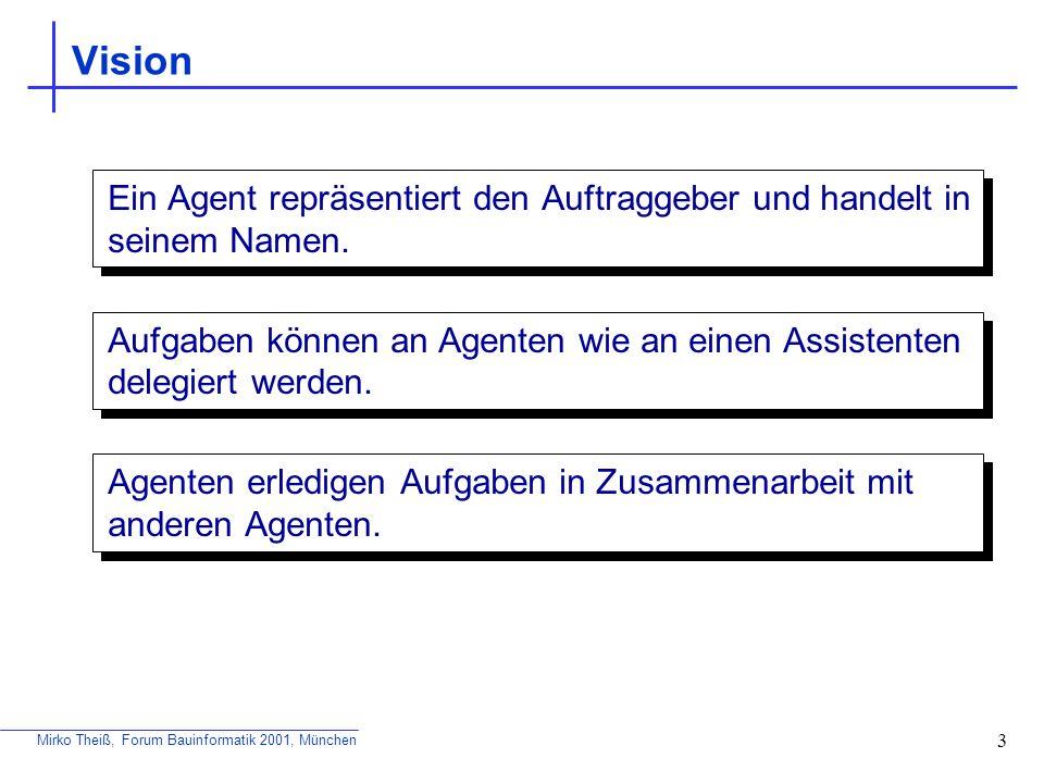 Mirko Theiß, Forum Bauinformatik 2001, München 14 Mobilität Fähigkeit eines Agenten, sich innerhalb von Kommunikationsnetzen zu bewegen Stationäre Agenten An einen Ort gebunden Können Nachrichten, evtl.