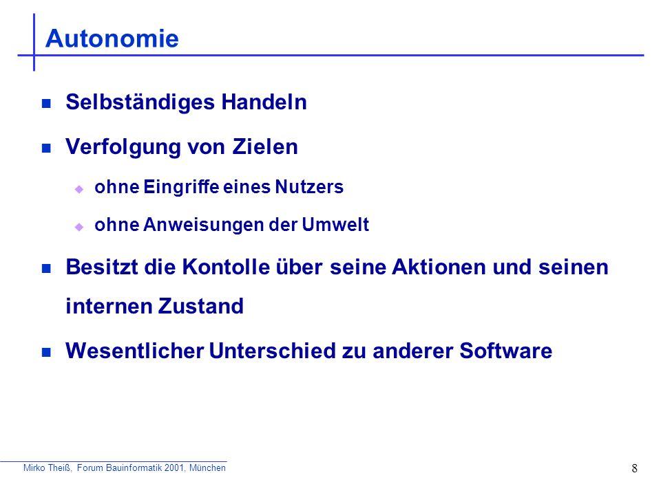 Mirko Theiß, Forum Bauinformatik 2001, München 9 Lernfähigkeit Drei Hauptkomponeten: Eigene, interne Wissensbasis Fähigkeit zu Schlußfolgerungen basierend auf der Wissensbasis Fähigkeit zu lernen bzw.