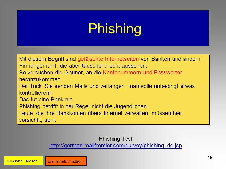 19 Phishing Zum Inhalt: Mailen Zum Inhalt: Chatten Phishing-Test http://german.mailfrontier.com/survey/phishing_de.jsp Mit diesem Begriff sind gefälsc
