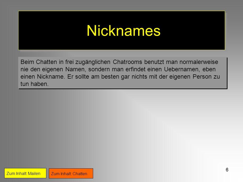 6 Nicknames Beim Chatten in frei zugänglichen Chatrooms benutzt man normalerweise nie den eigenen Namen, sondern man erfindet einen Uebernamen, eben e