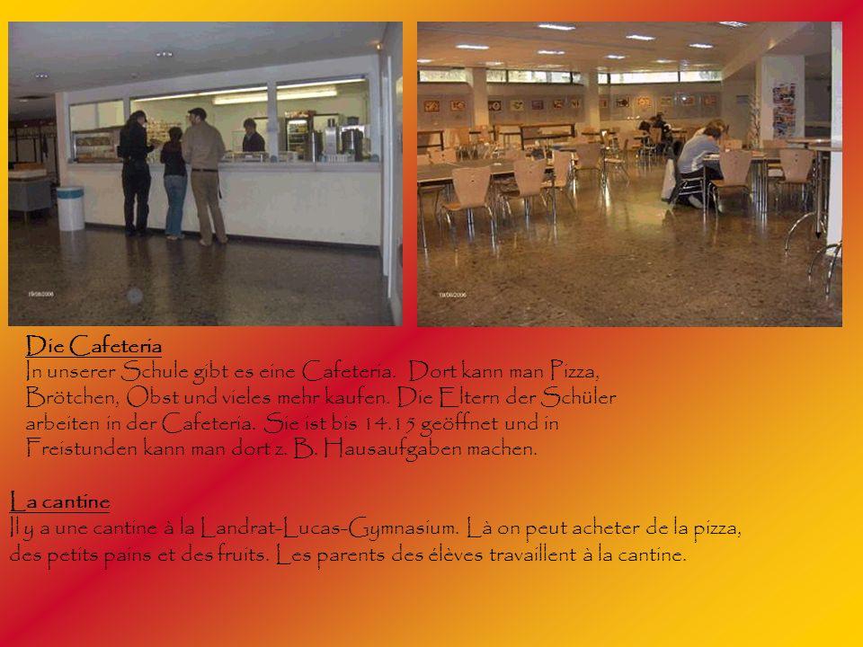 Die Cafeteria In unserer Schule gibt es eine Cafeteria. Dort kann man Pizza, Brötchen, Obst und vieles mehr kaufen. Die Eltern der Schüler arbeiten in