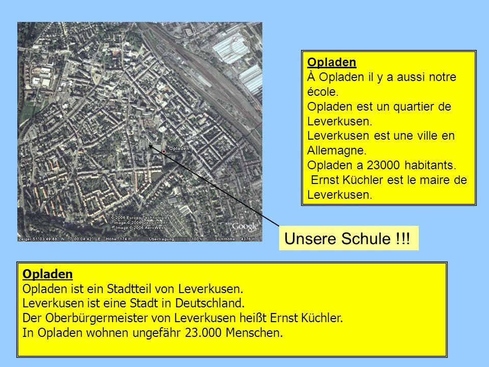 Opladen Opladen ist ein Stadtteil von Leverkusen. Leverkusen ist eine Stadt in Deutschland. Der Oberbürgermeister von Leverkusen heißt Ernst Küchler.