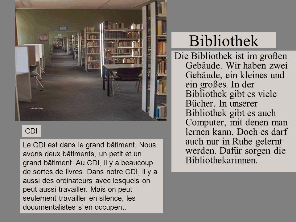 Bibliothek Die Bibliothek ist im großen Gebäude. Wir haben zwei Gebäude, ein kleines und ein großes. In der Bibliothek gibt es viele Bücher. In unsere