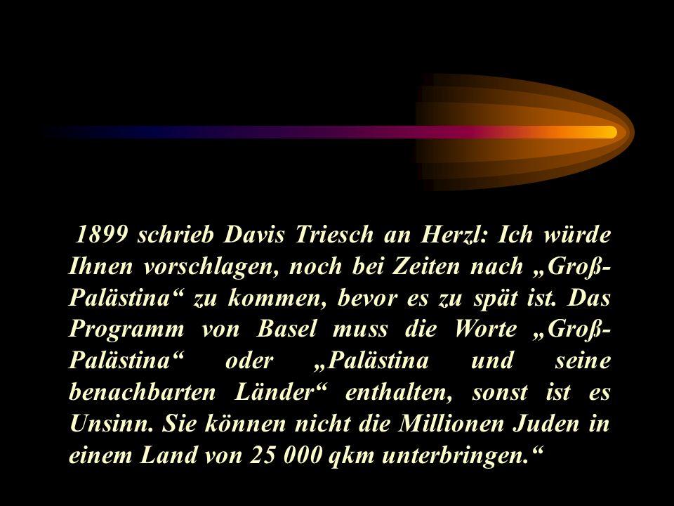 1899 schrieb Davis Triesch an Herzl: Ich würde Ihnen vorschlagen, noch bei Zeiten nach Groß- Palästina zu kommen, bevor es zu spät ist. Das Programm v