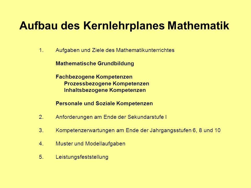 Aufbau des Kernlehrplanes Mathematik 1.Aufgaben und Ziele des Mathematikunterrichtes Mathematische Grundbildung Fachbezogene Kompetenzen Prozessbezoge
