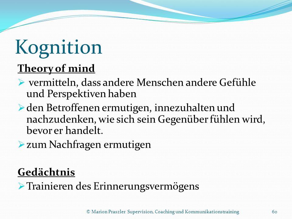 Kognition Theory of mind vermitteln, dass andere Menschen andere Gefühle und Perspektiven haben den Betroffenen ermutigen, innezuhalten und nachzudenken, wie sich sein Gegenüber fühlen wird, bevor er handelt.