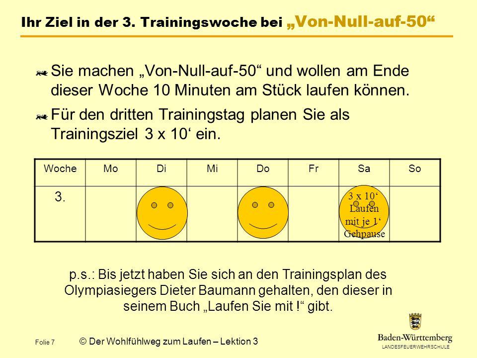 LANDESFEUERWEHRSCHULE Folie 7 © Der Wohlfühlweg zum Laufen – Lektion 3 Ihr Ziel in der 3.