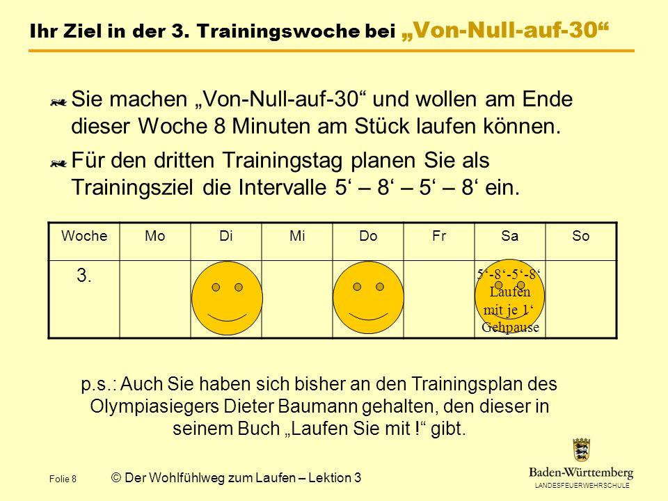 LANDESFEUERWEHRSCHULE Folie 8 © Der Wohlfühlweg zum Laufen – Lektion 3 Ihr Ziel in der 3.