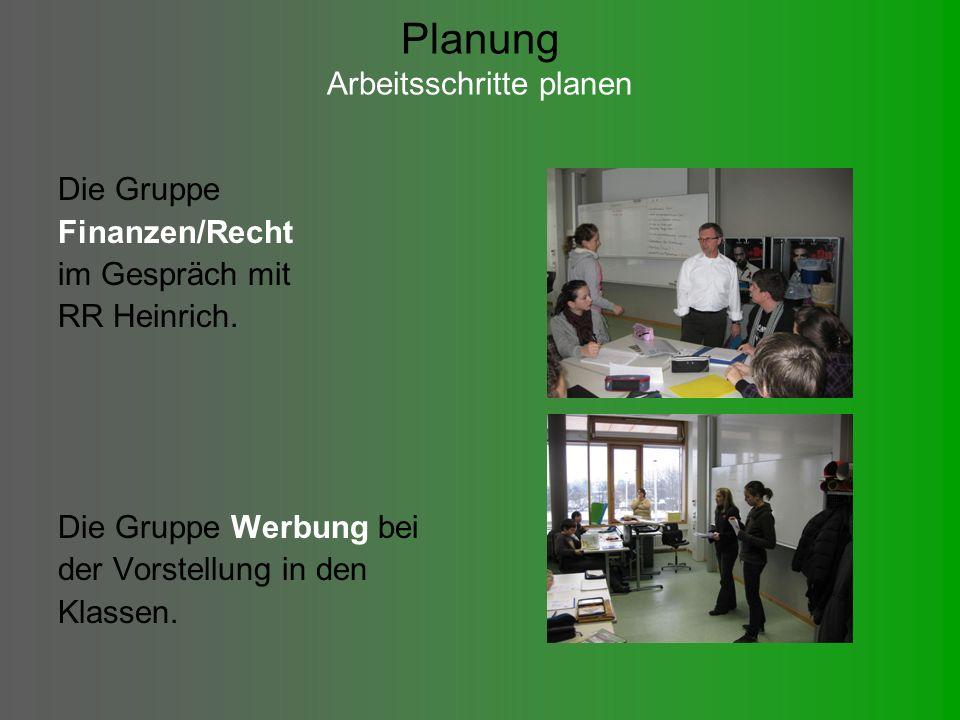 Planung Arbeitsschritte planen Die Gruppe Finanzen/Recht im Gespräch mit RR Heinrich.