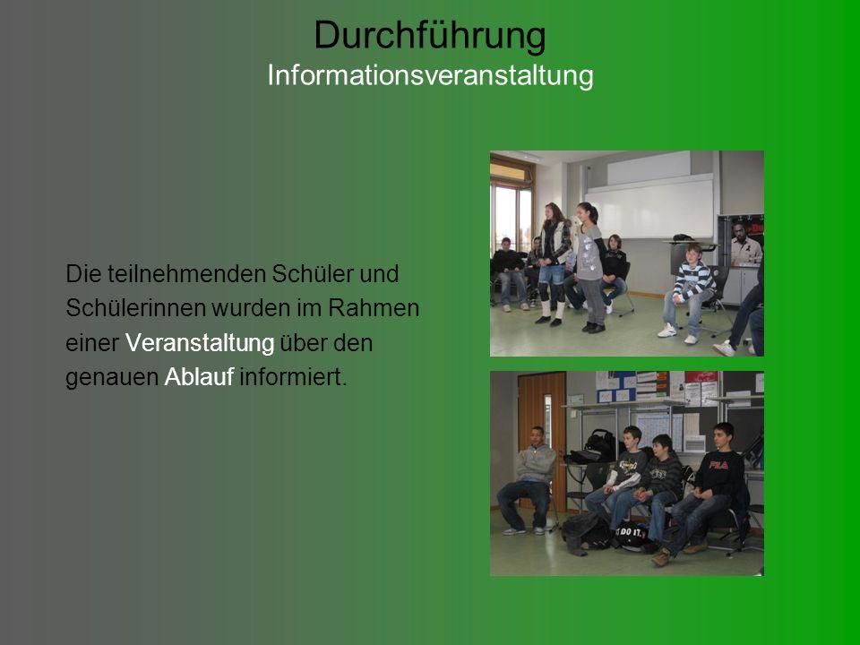 Durchführung Informationsveranstaltung Die teilnehmenden Schüler und Schülerinnen wurden im Rahmen einer Veranstaltung über den genauen Ablauf informiert.