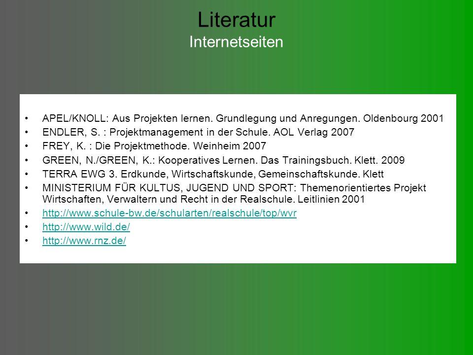 Literatur Internetseiten APEL/KNOLL: Aus Projekten lernen.